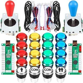 Arcade Kits 2 Player Classic Arcade DIY USB Encoder to PC Joystick Games + 2x 5Pin Rocker + 16x 30mm 5V LED Push Buttons 1...