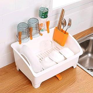 MU Ménage Portable Boîte de Rangement Portable Vaisselle Égouttée Cuisine Vaisselle en Bois en Bois Massif Panier De Range...