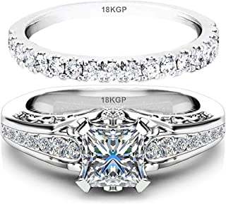 White Gold Plated 18K 3 Microns Thickness Over Sterling Silver Solid 925 Engagement Wedding Rings Set Women 6 mm 0.7 Carats Cubic Zirconia 5A Bridal Marriage Proposal Valentines