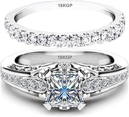AndreAngel Wedding Rings Set Engagement 2 pcs Women White Gold Plated 18K 3 Microns Thickness / 6...