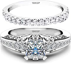 AndreAngel White Gold Plated 18K 3 Microns Thickness Over Sterling Silver Solid 925 Engagement Wedding Rings Set Women 6 mm 0.7 Carats Cubic Zirconia 5A Bridal Marriage Proposal Valentines