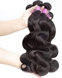 Hair Brazilian Body Wave Bundles 100% Human Hair Extensions Non Remy Hair Weave Bundles Can Buy 1/3/ 4 Bundles Deal,22 22 22,Natural Color