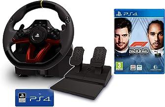 Volante y Pedales PS4 Inalámbrico [Nuevo Modelo] Licencia Oficial Sony Playstation 4 + Formula 1 2019 - F1 2019