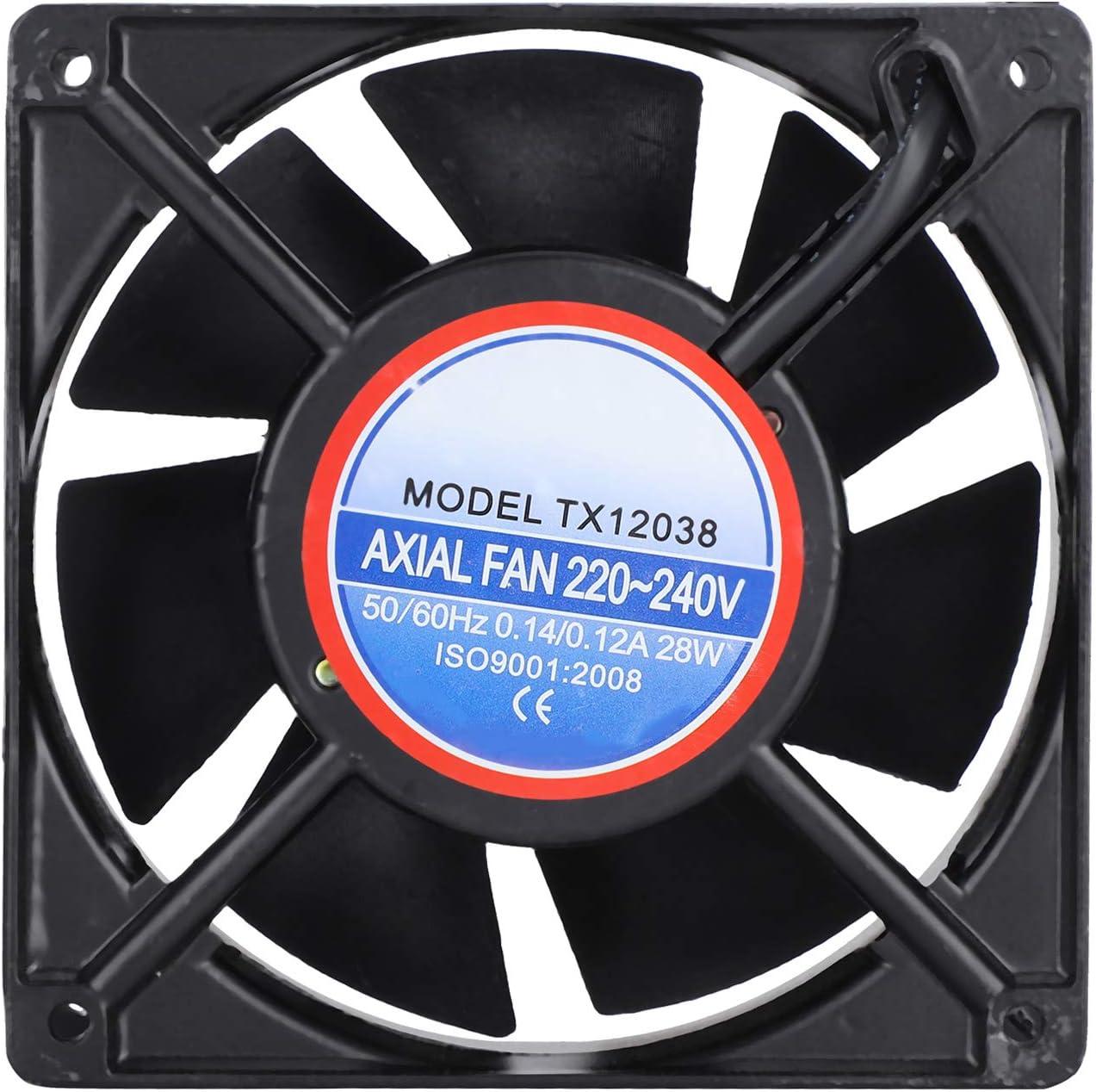 220-240V Ventilador de refrigeración silencioso Kit de ventilador de incubadora Kit de ventilador de incubadora de aire forzado Proyectos de escape de ventilación para Incutator(Abanico negro)