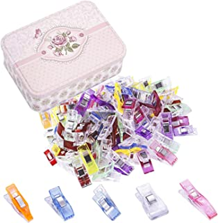 150 Pack Sewing Clips and Quilting Clips,5 Sizes Multipurpose Wonder Clips Plastic Clips Tin Box for Crafting, Crochet and Knitting, Quilting Binding Clips, Paper Clips,Fabric Clips