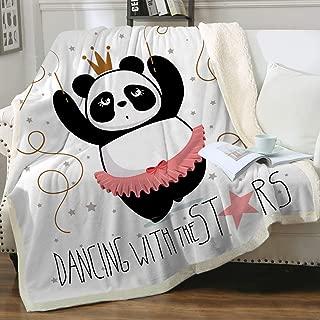 Sleepwish Kawaii Panda Ballet Dancer Blanket Sherpa Blanket Throw for Travel Picnic Camping Dancing with Stars Girly Soft Fleece Bed Blanket Throw (50