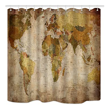 NYMB Vintage World Map Shower Curtain in Retro Color, Wanderlust Antiques Decor, Mildew Waterproof Resistant Fabric Bathroom Decorations, Bath Curtains Hooks in cluded, 69X70 inches