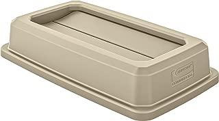 Suncast Commercial TCNLID01S Slim Trash Can, Double Flip Lid, Sand