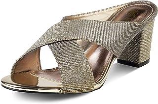 tresmode Womens Block Heel Gold Mules