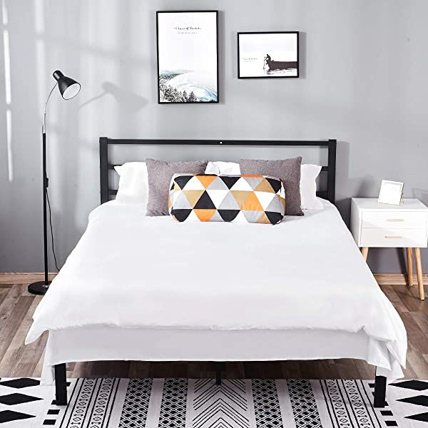 14 Inch Queen Metal Platform Bed Frame With Headboard Mattress Foundation Wooden Slat Support No Box Spring Needed With Wooden Slat Queen