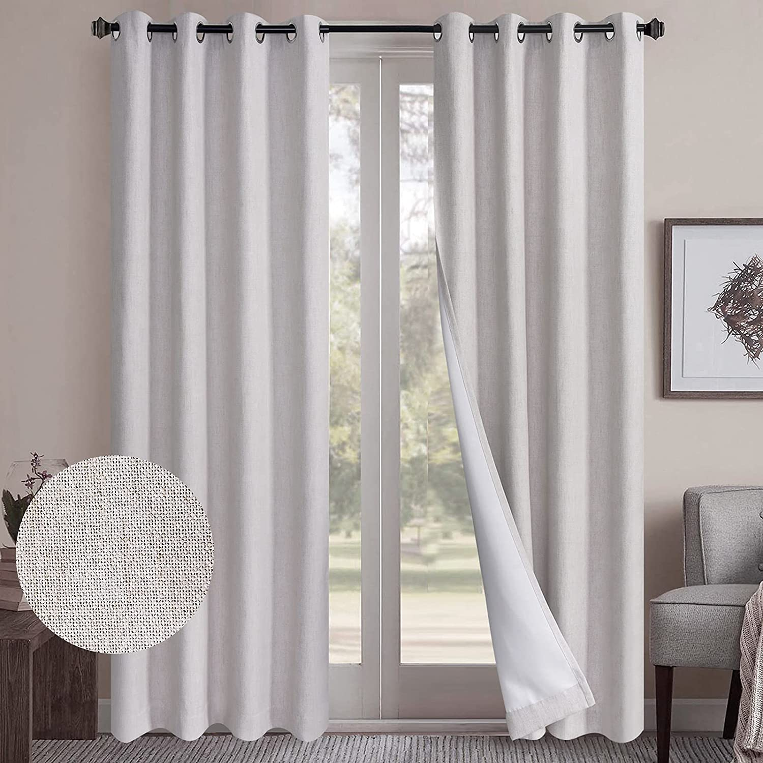 Rose Home Fashion Linen Blackout Curtains, Set of 2 Panels Room Darkening Curtains Grommet Curtains Drapes for Bedroom/Living Room 84 inch Length - (50W by 84L, Beige)
