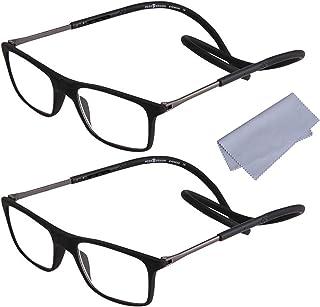 2 Pack Reading Glasses Black Magnetic Bridge for Men Women +1.50(50-54 years) Foldable Adjustable Temple Soft Hanging Arou...