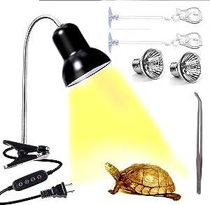 AquariumBasics Reptile Heat Lamp Light, UVA UVB Reptile Light, Reptile Turtle Heating Lamps Turtles Tortoise Lizards Snake one Terrarium lamp Light +Two 25W Bulb+2 Clip+1tweezer