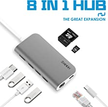 USB C Hub Adapter, 8-in-1 USB C Adapter, with 4K USB C to HDMI, USB C Port, RJ45 Gigabit Ethernet, SD/TF Card Reader, 3 USB 3.0 Ports, for MacBook Pro 2019/2018/2017, Chromebook, XPS, and More