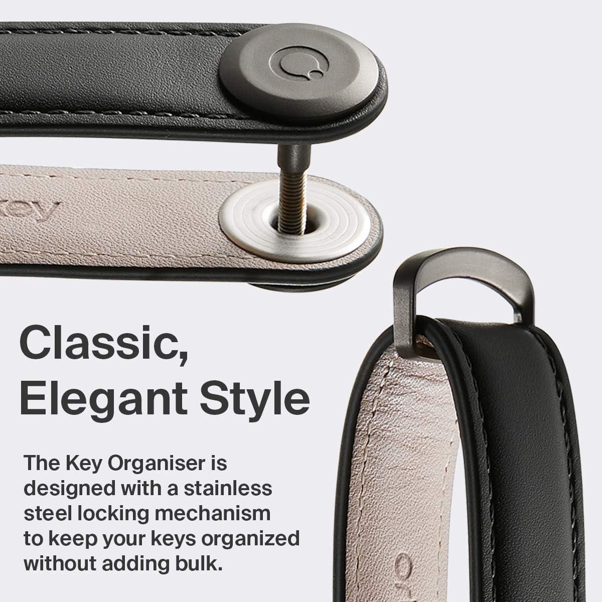 Stainless Steel Locking Mechanism Holds up to 7 Keys, Orbitkey Leather Key Organizer Slim /& Quiet Profile Durable