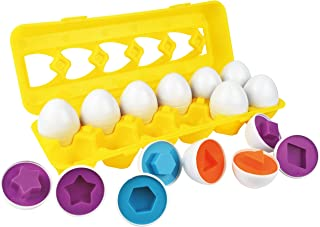 Skoolzy Toddler Toy Eggs - Shapes Puzzles for 1 2 3 Year olds - Shape and Color Sorting Toys for Toddlers, Boys, Girls - Egg Matching Game for Kids Games and Toddler Games As Educational Resources