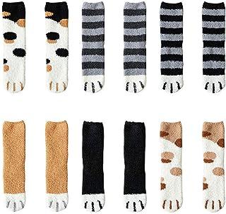 6 pares de garras de gato de invierno Calcetines gruesos y cálidos para dormir, calcetines de felpa de coral de felpa calcetines de tubo femeninos