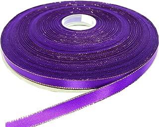 PartyMart 3/8 Inch Satin Ribbon with Golden Edges, 100 yds, Purple