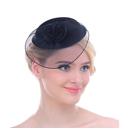 Women Mesh Net Flower Pillbox Hair Clip Fascinator Hat for Wedding Cocktail  Derby d318f5d390e
