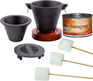 Tiger Chef Smores Kit Marshmallow Roasting Set Includes Hibachi Grill Set, Chafing Fuel Gel Can, 100 Bamboo Skewers, 1 Bag...