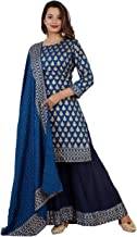 Kanshi Women's Rayon Solid Printed Kurta Sarara Palazzo and Dupatta Set |Three Fourth Sleeve Knee Length Used as Casual Wear & Office Dress
