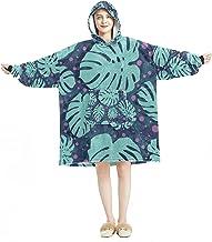Deken Hoodie, Casual Zachte Microfiber Housecoat, Warm Nachthemd voor Mannen Vrouwen met Tropisch Patroon Donkere Kleur On...