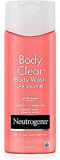 Neutrogena Body Clear Acne Treatment Body Wash with Salicylic Acid Acne Medicine to Prevent Breakouts, Pink Grapefruit Salicylic Acid Acne Body Wash for Back, Chest, and Shoulders, 8.5 fl. oz