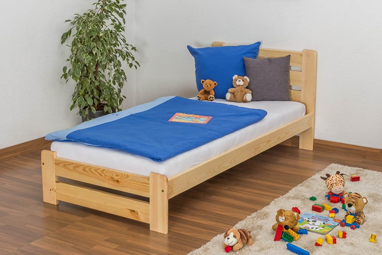 Kinderbett Jugendbett Kiefer Vollholz massiv natur A24, inkl. Lattenrost - Abmessung 90 x 200 cm