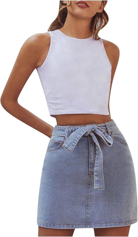 FORUU Women's Jean Skirt,2021 Summer Skirt High Waist Short Chain All-Match Stitching Retro Denim Skirt A Line Skirt Sexy Short Skirt Fashion Pencil Skirt Casual Work Skirt Mini Skirt