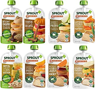 Sprout Organic Baby Food Pouches Stage 3, Organically Sourced Meat and Plant Protein Variety Sampler 8 Flavor, 4 Ounce Pouches (Pack of 12) Packaging May Vary