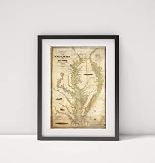 1840 Map of  A Chart of The Chesapeake and Delaware Bays Chesapeake Bay Delaware Bay Title: A Chart