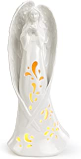Napco Standing Angel with Design White 5.5 x 12.75 Porcelain LED Tabletop Figurine