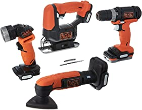 Black+Decker 2.4A 1.5Ah GoPak 4 Tool Cordless Combo Kit with Drill Driver, Sander, Jigsaw & LED Light for DIY Projects, Or...