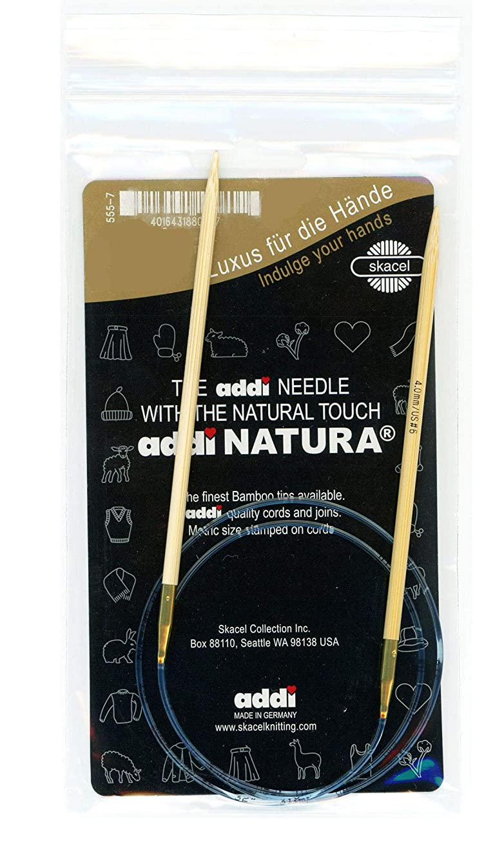 addi Knitting Needle Circular Natura Bamboo Skacel Exclusive Blue Cord 24 inch (60cm) Size US 07 (4.5mm)