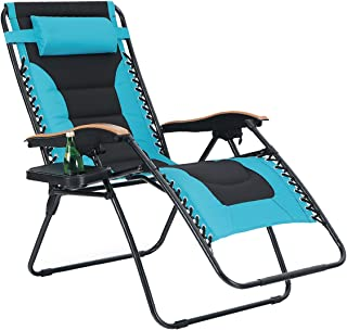 PHI VILLA Oversize XL Padded Zero Gravity Lounge Chair Wide Armrest Adjustable Recliner with Cup Holder, Support 350 LBS (Aqua)