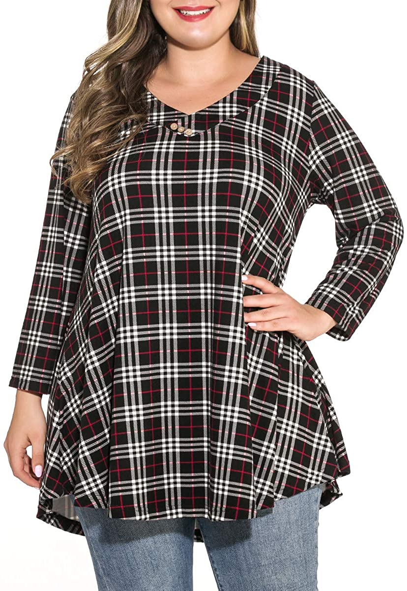 MONNURO Womens Plus Size 3/4 Sleeve V Neck Button Casual Loose Flowy Swing Tunic Tops Basic Tee Shirts for Leggings