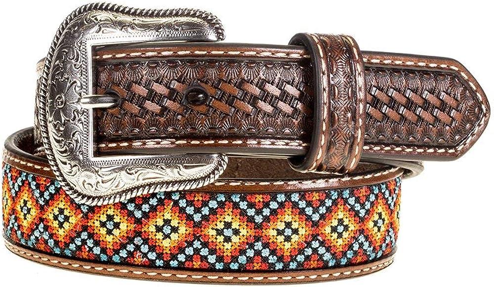 Nocona Belt Co. Boys Kid s Basket Weave Belt with Aztec Inlay 22