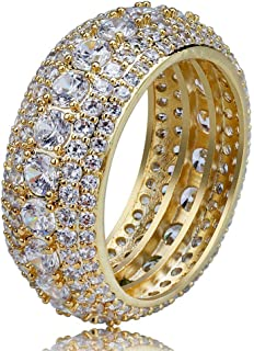 SHINY.U 5 Row 10mm Gold Plated Bling Iced Out CZ Royal Simulated Diamond Eternity Wedding Engagement Band Ring for Men Hip Hop