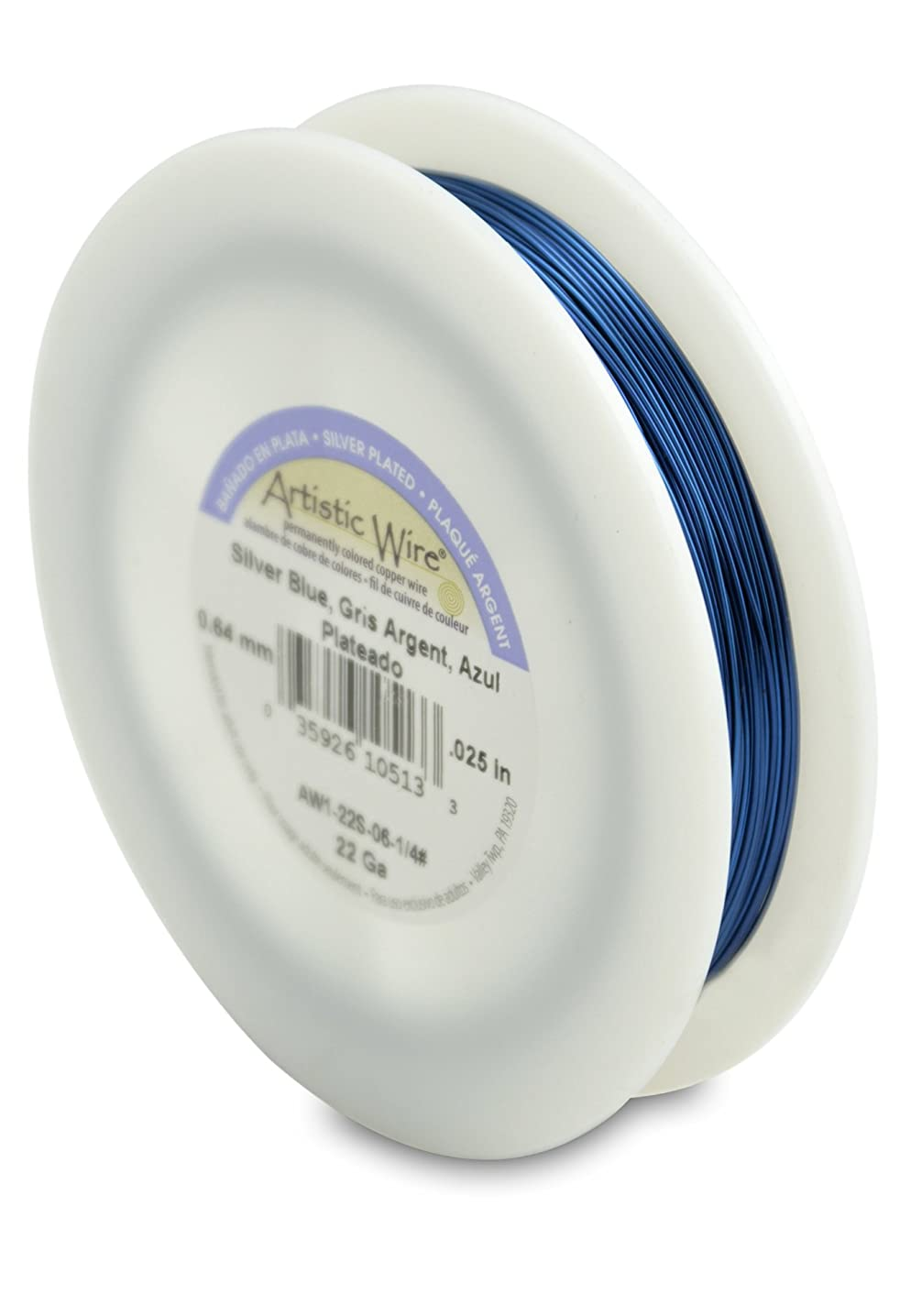 Artistic Wire 22-Gauge Silver Plated Silver Blue Wire, 1/4-Pound