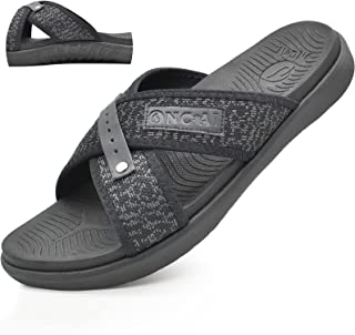 ONCAI Mens Orthotic Cross Slide Sandals Comfort Soft Cushioning Sport Sandals with Plantar Fasciitis Arch Support Open Toe...