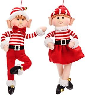 Christmas Tree Ornaments Elf Plush Doll 2 Pack Boy and Girl Elves Plush Christmas Decor Stuffed Animals with Xmas Hat Cute...