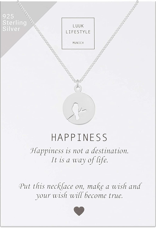 LUUK LIFESTYLE Collar de plata de ley 925 con colgantes diferentes (p.ej. ancla, palma, estrella, mándala, cruz, clave de sol, pluma) y tarjeta HAPPINESS, joya de mujer, regalo, plata, oro, rosa