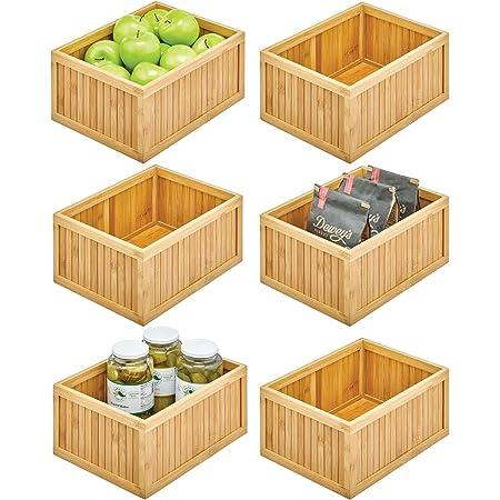 mDesign bac de rangement pour la cuisine – boite de tri écologique en bambou – casier de rangement polyvalent pour aliments, épices, conserves, etc. – lot de 6 – couleur nature