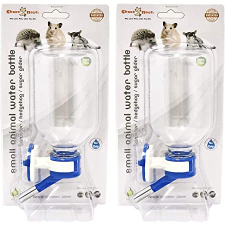 BPA Free 11.2 Oz Best Mini-Sized Pet Water Feeder for Hamster//Hedgehog//Sugar Glider//Rat//Mice Mess Free Nozzle Diameter: 10mm Choco Nose H125 Patented No Drip Hamster Water Bottle