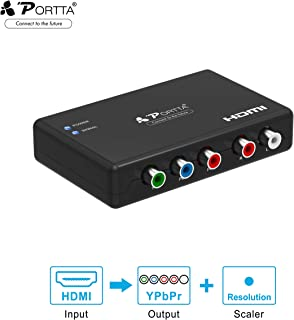 Portta HDMI to Component Video 1080P (YPbPr) RGB + R/L Scaler Converter Adapter with R/L Audio Output Support PS3, PS4, Blu-ray Player, DVD, Xbox, Notebook