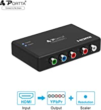 Portta HDMI to 1080P Component Video (YPbPr) RGB + R/L Scaler Converter Adapter with R/L Audio output Support PS3, PS4, Blu-ray Player, DVD, XBOX, Notebook , Black