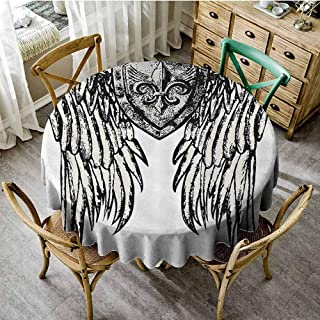 Playyee Patio Round Tablecloth Fleur De Lis Decor Collection,Tribal Tattoo Design with Wings Aged Arms Badge Crest Crown Eagle,Black and White Picnic Cloth Diameter 36