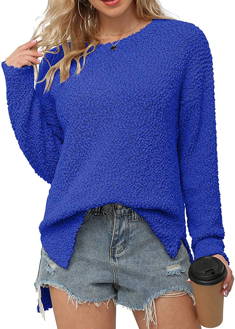 GRECERELLE Women's Fuzzy Knitted Sweater Crew-Neck Long Sleeve Side Split Loose Casual Knit Pullover Sweater Blouse