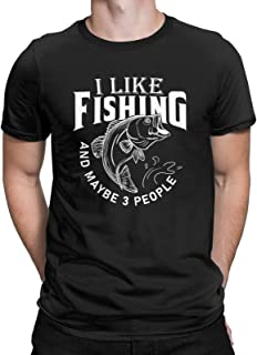 I Like Fishing and Maybe 3 People Funny T-Shirt Bass Outdoorsman Fisherman Tees Tops for Men