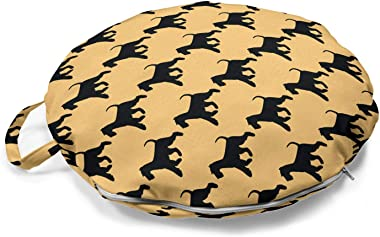 Ambesonne Scottie Dog Round Floor Cushion with Handle, Silhouette of Adult Animals Running and Playing Repeating Pattern, Dec